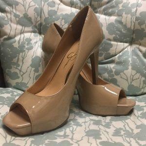 Jessica Simpson peep toe nude patent heels